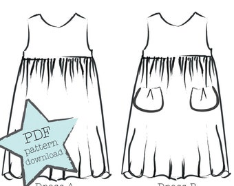 The Mira Dress sewing pattern for girls. Sizes 2-9. A versatile two-hour dress with easy, professional results. PDF instant download.