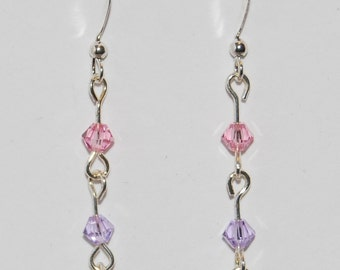 Swarovski Crystal Beaded GLBTQA Bi-Pride Earrings