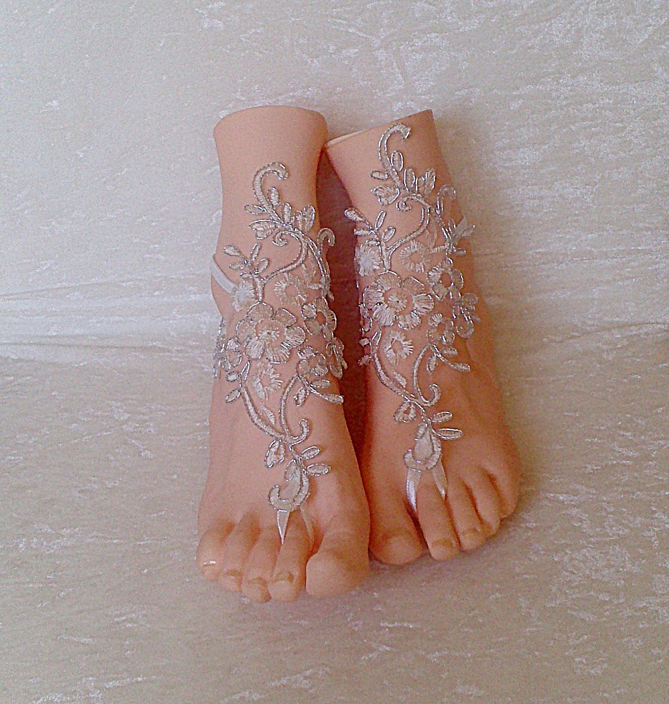 c970a9f3ba1f00 Free ship ivory silver cord wedding barefoot sandles wedding prom party  steampunk bangle beach anklets bangles. GlovesByJana