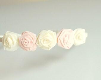 Rosette baby headband/ avory and pink/ wedding/ roses hairband/ handmade/ baby girls/ hair accessories/ ceremony/ bridesmaid