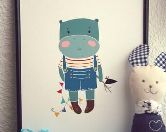 Baby Hippo Print.