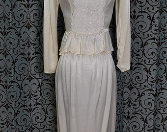 1980s Ivory Satin Gunne Sax Peplum Blouse & Pencil Skirt/Dress