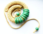 Crochet  Necklace, Polymer Clay Necklace, Green Necklace, Mothers Day Gift, Fabric Necklace - IKKX