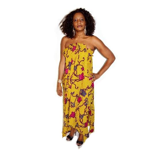 Robe africaine robe de mariée en jaune robe Ankara par ZabbaDesigns