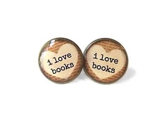 Tan I Love Books Earrings, Book Page Jewelry, Bookworm Earrings, Nerdy Book Jewelry, Geekery Literary Book Page Earrings, Book Lover Jewelry