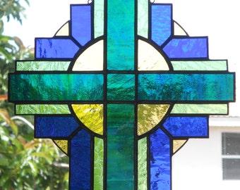 Stained Glass Cross Suncatcher, Blue/Green #108