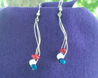 Fourth of July Red, White, and Blue Fireworks Earrings