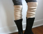 The XL Boot Cuff / Chunky Upcycled Boot Toppers / 100% Recycled Lambswool / Beige Tan Oatmeal Boot Warmer / Plus size / Legwarmer thigh-high