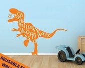 Alphabet Wall Decal, ABC Playroom Wall Decal, REUSABLE Dinosaur Wall Decal Vinyl Lettering, Childrens Preschool Decor, Kids Vinyl Wall Art