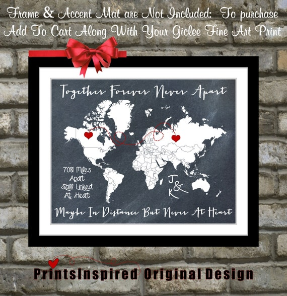 Chalkboard map print miles away love across ocean for Going away gifts for boyfriend