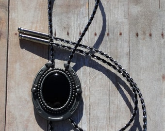 Antique Silver Finish Horseshoe Bolo Tie - Black Onyx Stone