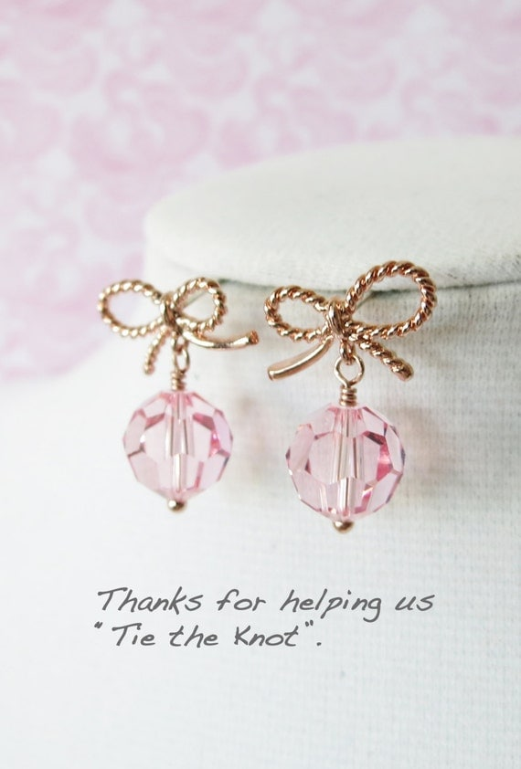 Rose Gold Bow Earring - Light Rose Swarovski Crystal Beads, Pink bridesmaid earrings gifts, Rose Gold Dainty Cute Bow Earrings, sweet