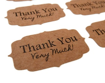 Kraft Stickers - 30 Count - Thank You Stickers - Kraft Labels - 1.75 in x 1 in. - Product Sticker - Wedding Favor Sticker