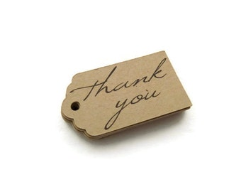 Thank You Tags - 50 Count - Hang Tags - 1.75 x 1 inch - Kraft Tags - Scallop Tags - Holiday Tags - Wedding Favor Tags - Jewelry Tags - TY1