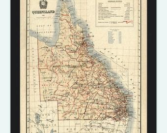 Old Map of Queensland Australia 1911 Vintage Map