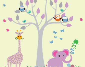 Kids Tree Decal, REUSABLE FABRIC Decal, Jungle Decal - N161