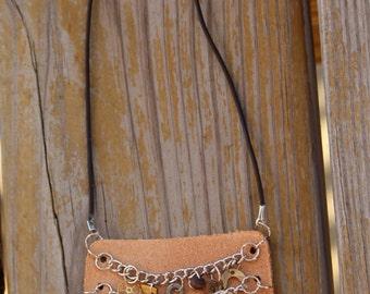 N91 Steampunk Raw Suede Vintage Watch Gear Bib Necklace --FREE SHIPPING