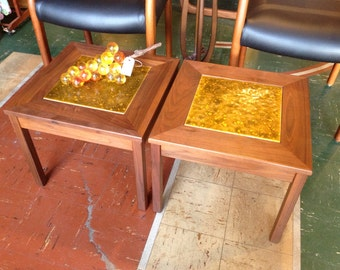 Mid Century John Keal For Brown Saltman Walnut Side Tables With Gold Enamel  Brass Inlay