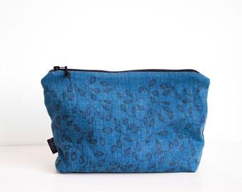 Marineblauwe linnen koppeling, Traveling koppeling, scherm afgedrukte blad ontwerp