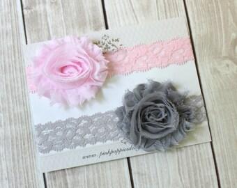 Pink and Gray Lace Headbands - Lace Headband Set - Baby Headbands - Flower Headband Set