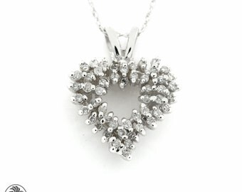 White Gold Heart Pendant, Scattered diamonds Heart Pendant,Vintage Heart Pendant, Scattered Diamond Heart, 14 Karat Heart Pendant | NEC01599