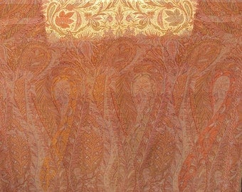 Kashmir Antique Paisley Shawl, woven soft wool, 58 by 124 inches
