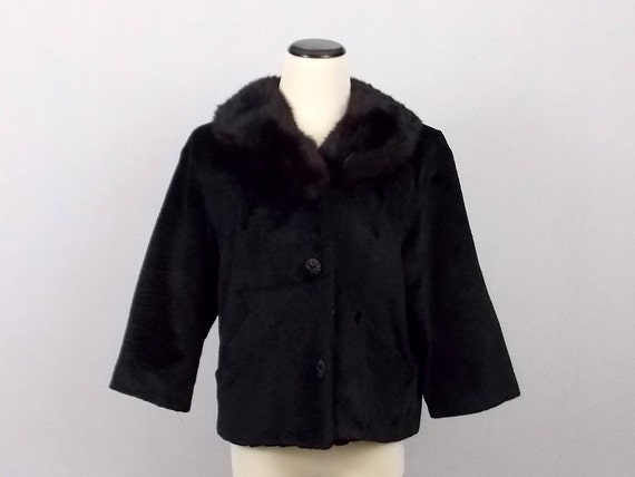 Black Fur Collar Coat - Faux Persian Lamb Jacket with Rabbit Fur Collar - Vintage 1960s Winter Coat Styled By Winter