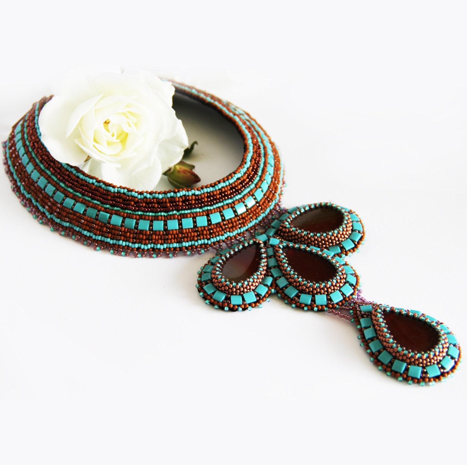 Statement bead embroidery collar necklace with carnelian