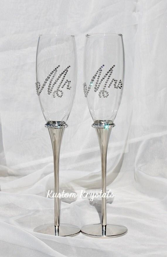 Custom Silver Swarovski Crystal Embellished Champagne Flutes