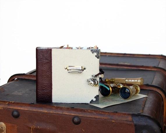 Premade Scrapbook Mini Album / Journal / Geniune Leather and Canvas / Travel Book