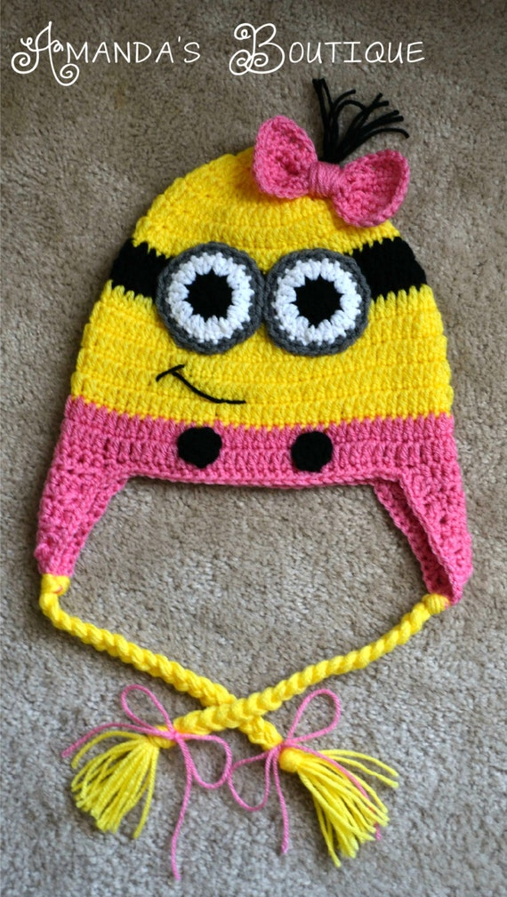 Free Crochet Pattern For Girl Minion Hat : Crochet Minion Hat Pink MADE TO ORDER by AmandasCrochetShoppe