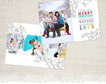 Christmas Card Template for Photographers - 5 x 7 Landscape Flat Card - Winter Wonderland