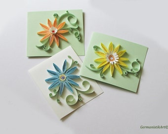 Pastel Flower Card Set, Quilling Card Set of 3 Greeting Cards with Quilled Flowers in Pastel Colors