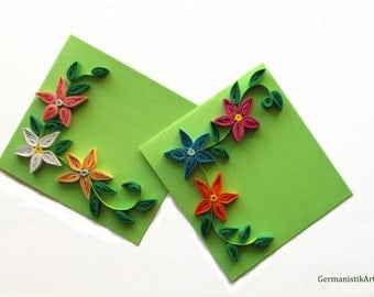 Spring Flower Card Set, Set of 2 Birthday Cards with Quilled Flowers