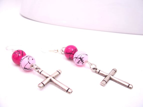 cross earrings with pink and pink by allaboutjesusdesigns