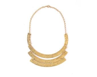 Gold statement necklace, gold bib necklace, gold wedding necklace