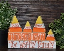 Halloween Decor Block Set Personalized Family Name Decor Halloween Decor Primitive Candy Corn Halloween Gift Wedding Primitive Block Set