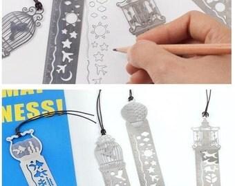 Bird Cage Art Shapes Ruler Merry go round stencil ruler Hot air Balloon shaper layout ruler Fishes art bullet journal stencil craft shaper