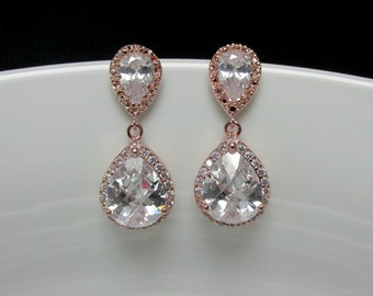 pear rose gold drop earrings , pave rose gold earrings , rose gold bridal earrings , wedding rose gold jewelry , pink gold drop earrings