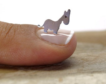 Tiny donkey sterling silver stud earrings , Hand saw donkey silhouette stud earrings , gifts under 25