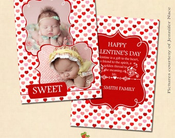 INSTANT DOWNLOAD 5x7 Valentine's Card Photoshop Template - CA125