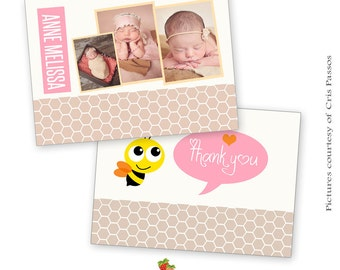 INSTANT DOWNLOAD 5x7 Birth Announcement/ Thank You Card Template - CA352