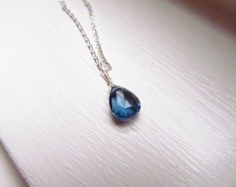 London blue topaz necklace November birthstone deep blue sterling silver gold chain delicate briolette