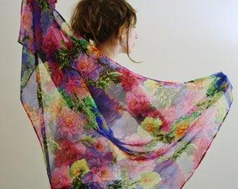 Blue scarf Silk Parisian scarf Sheer floral scarf Flower print Silk evening wrap sheer evening shawl Light blue scarf Sheer blue wrap FLEUR