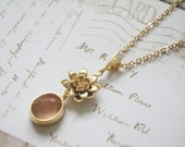 Gold flower peach light pink vintage style necklace cubic zirconia