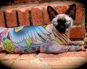 """Tattcat™ - Lucky's Bird Tattoo - Sphynx Cat Clothes - Lightweight """"illusion shirt"""" tank top for Chinese Crested Dogs and Hairless Cats"""