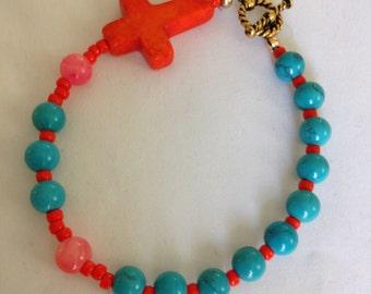 Orange Cross and Turquoise/Orange Glass Beaded Bracelet