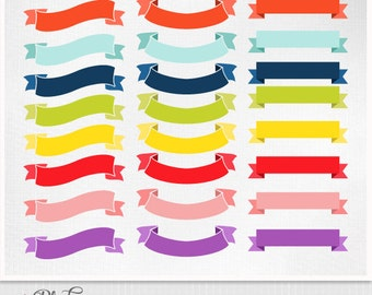 Digital Scrapbooking Ribbons Clipart - 24 Ribbons - Clip Art Scrapbooking Instant Download -  Instant Download Eps and PNG