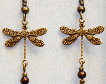 Earrings Brass dragonfly #B18a