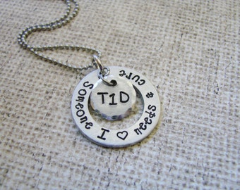 Juvenile Diabetes/ Type 1 Diabetes support- hand stamped jewelry--personalized
